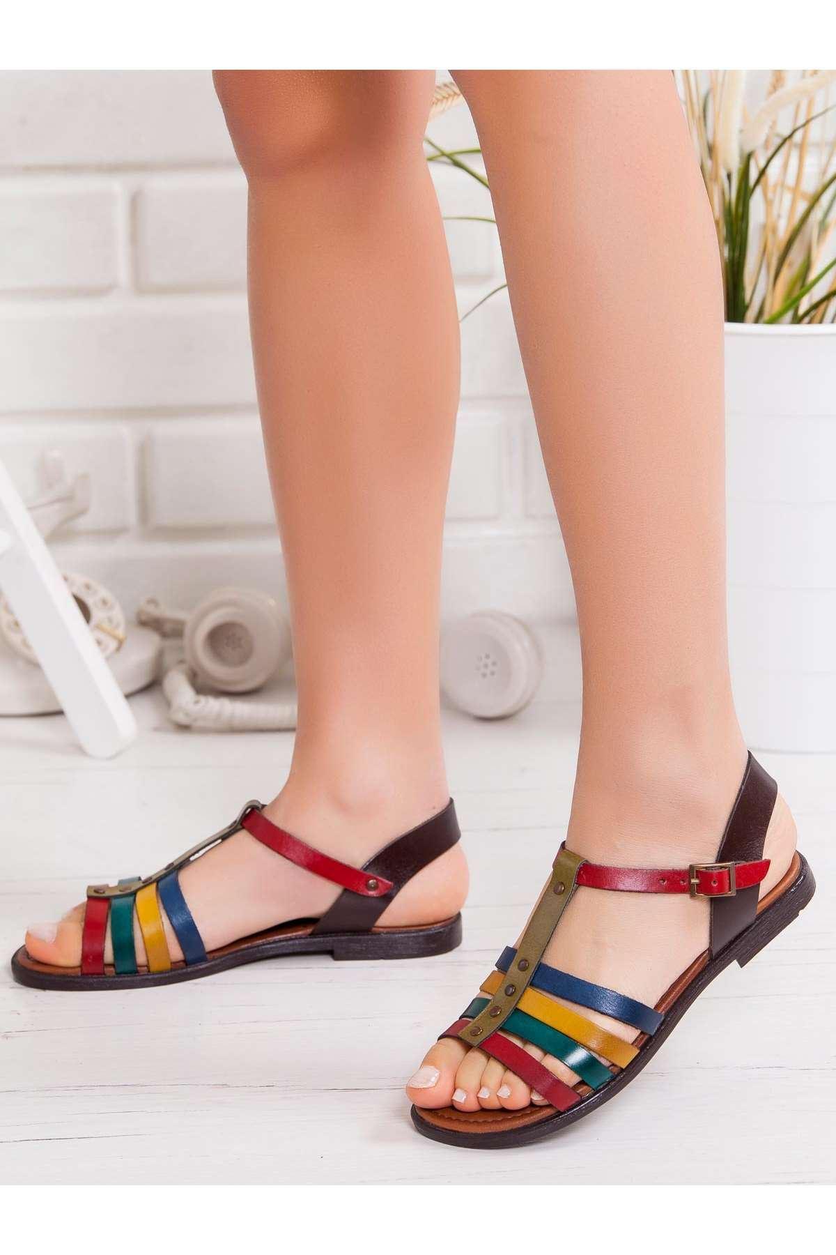 Noxx Hakiki Deri Sandalet MİX