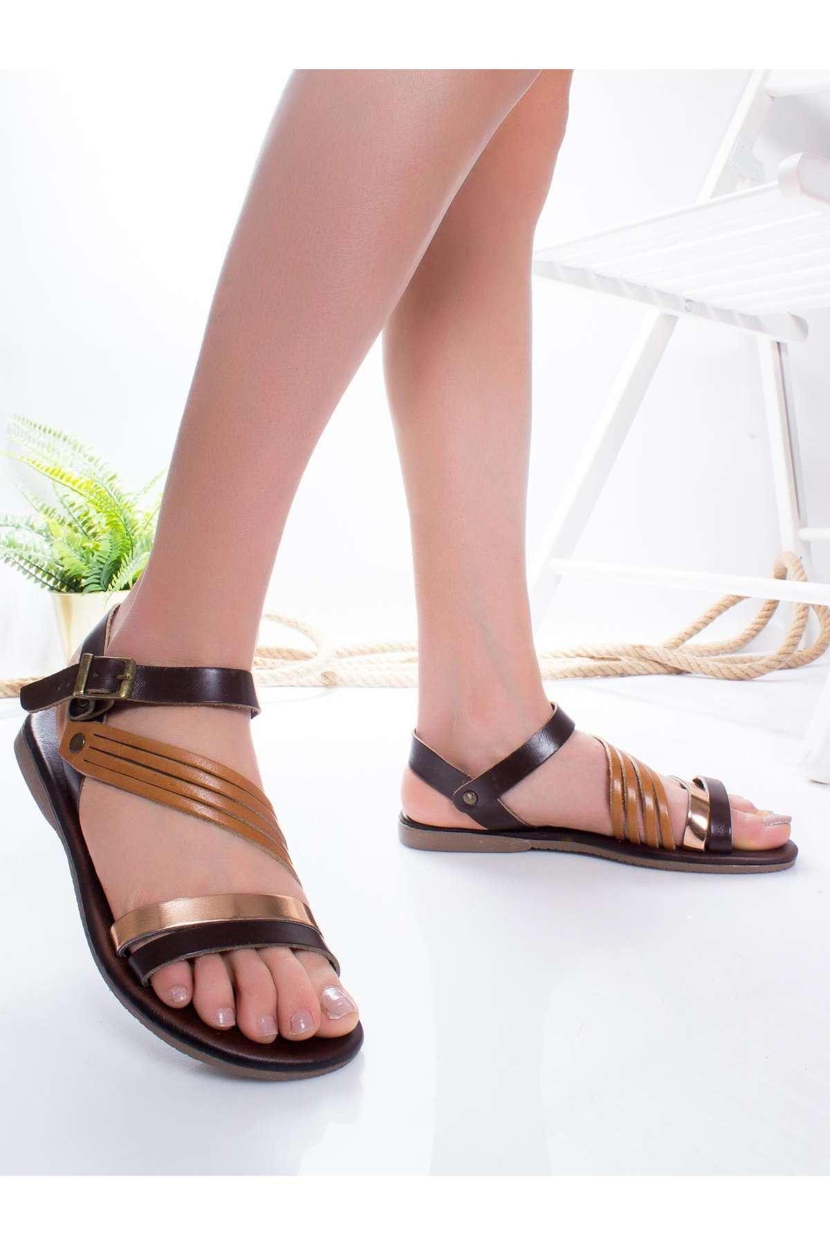 Margid Hakiki Deri Sandalet TABA