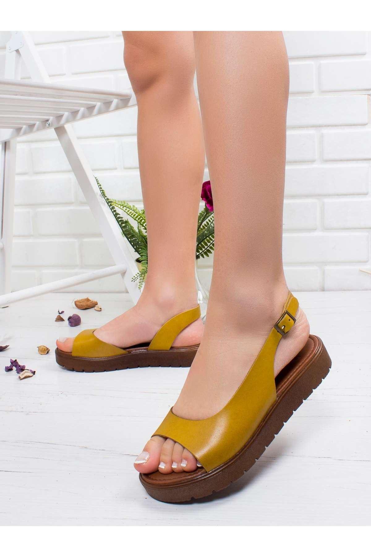Kayla Hakiki Deri Sandalet SARI