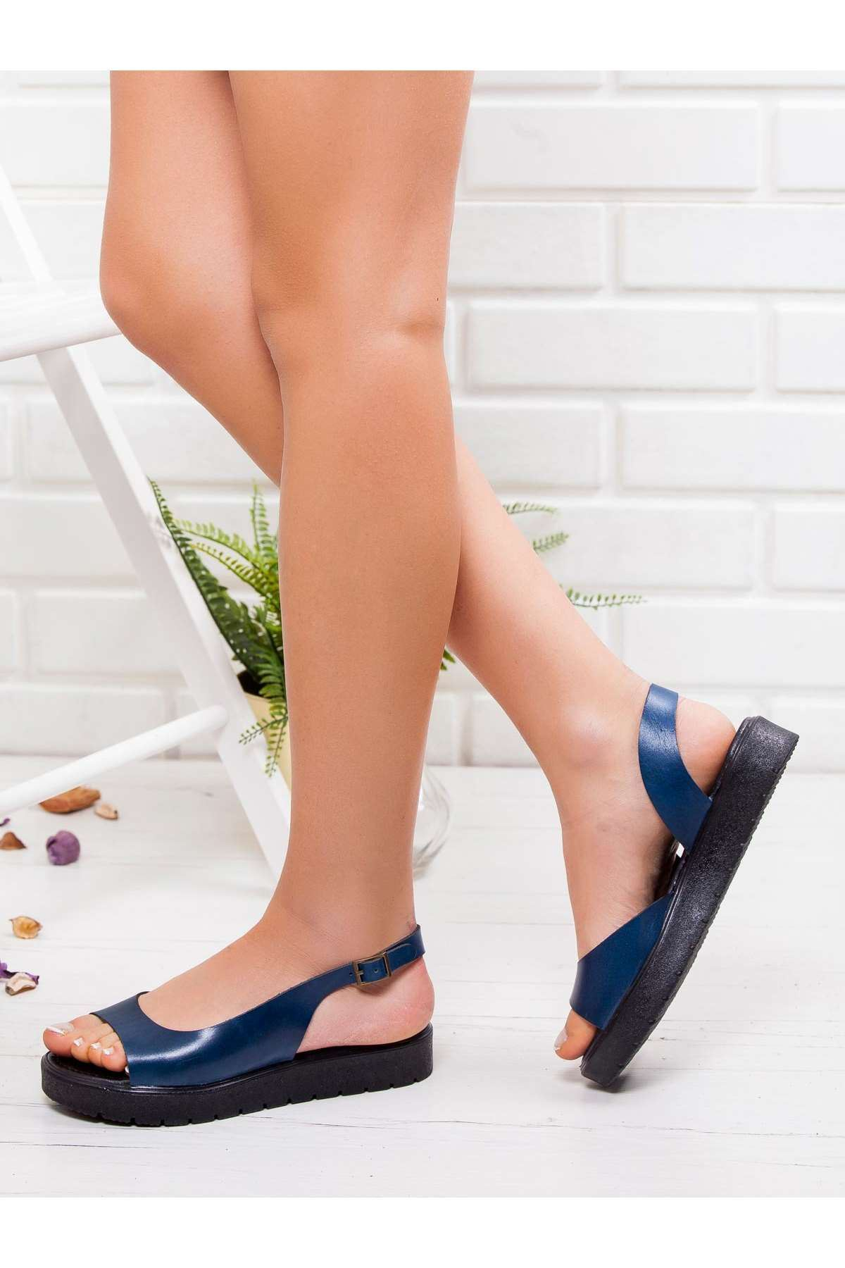 Kayla Hakiki Deri Sandalet MAVİ