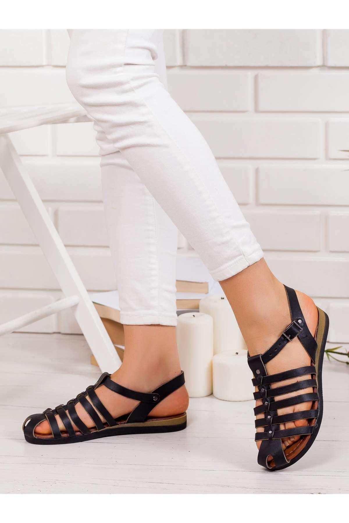 Kate Hakiki Deri Sandalet SIYAH
