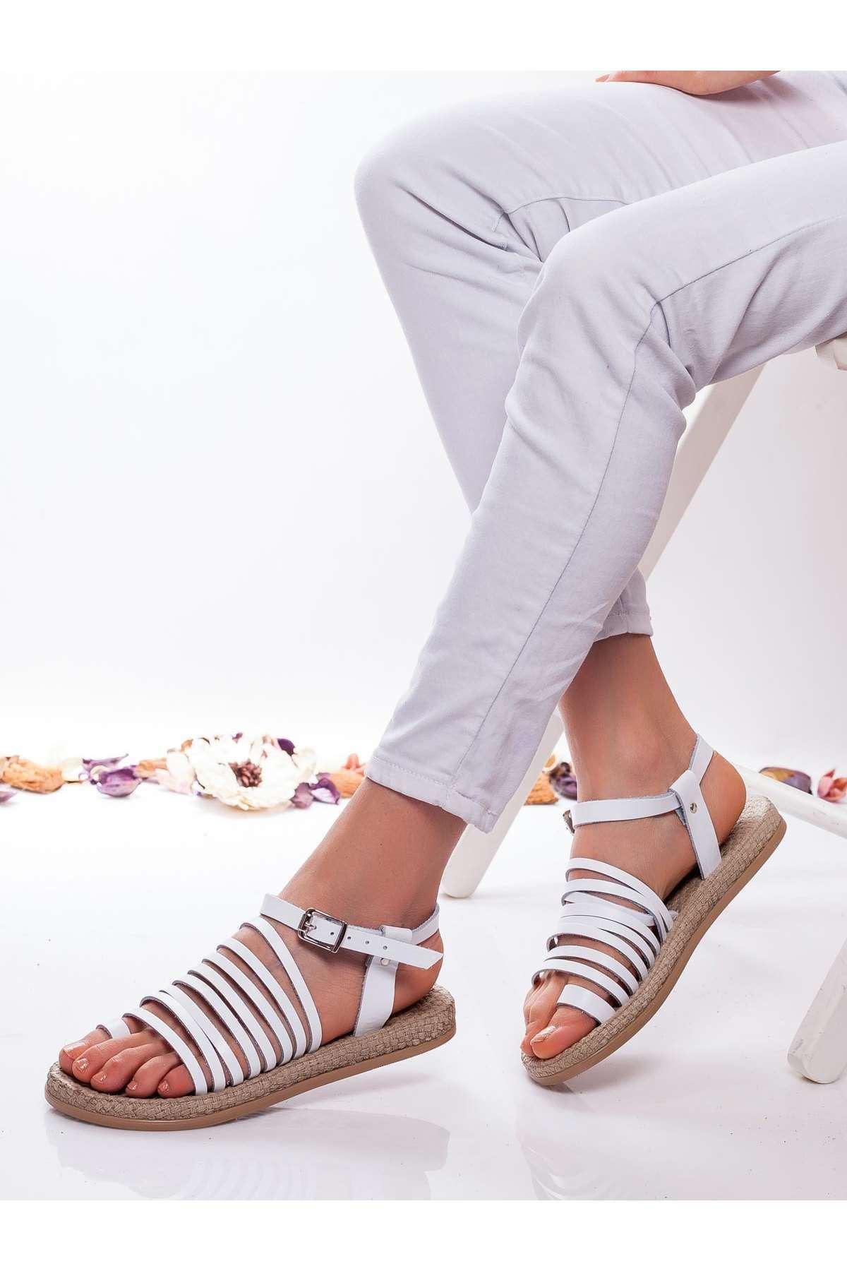 Clair Hakiki Deri Sandalet BEYAZ