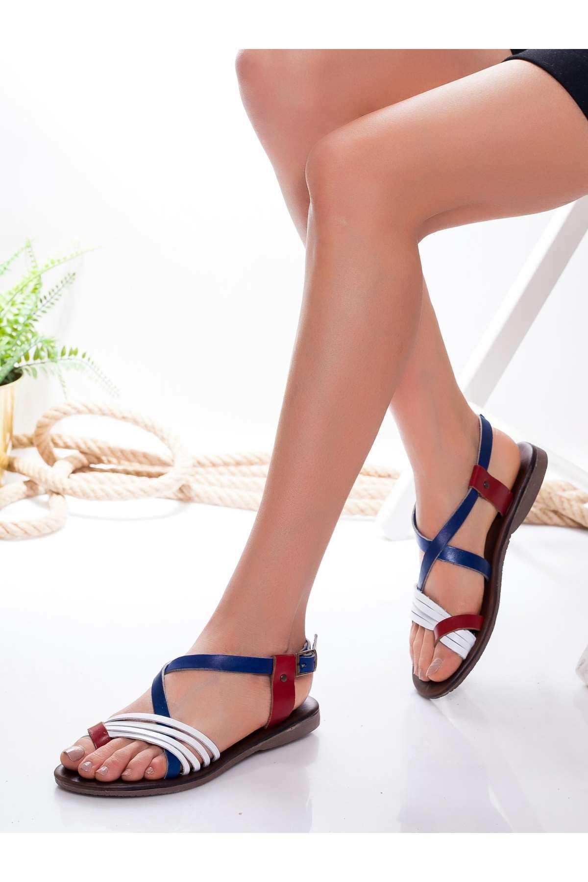 Bluma Hakiki Deri Sandalet MİX2