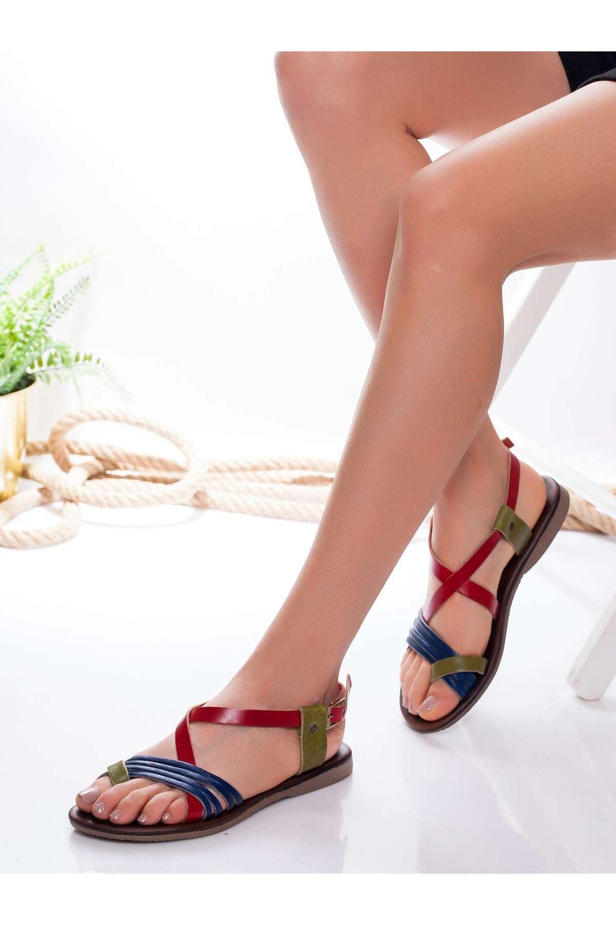 Bluma Hakiki Deri Sandalet MİX