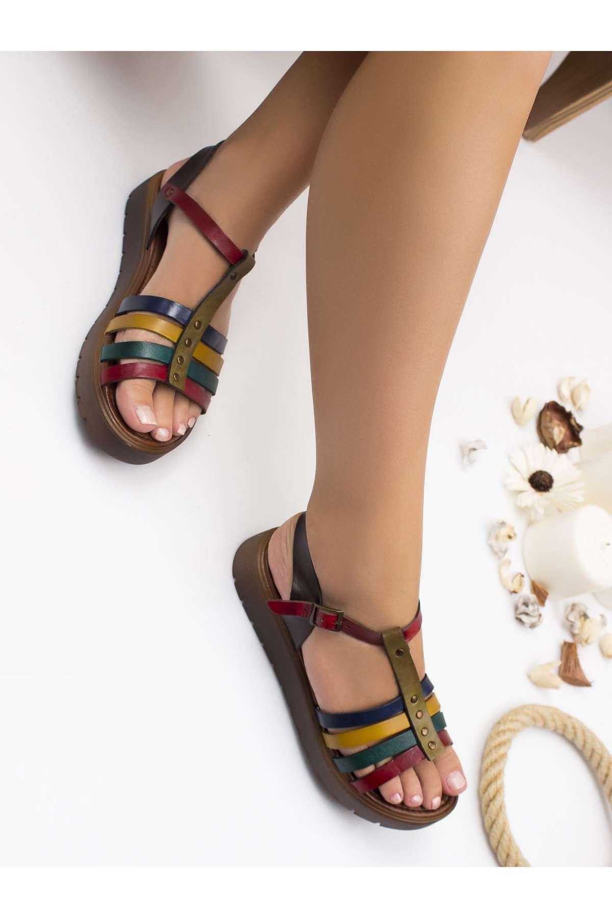 Alya Hakiki Deri Sandalet MİX