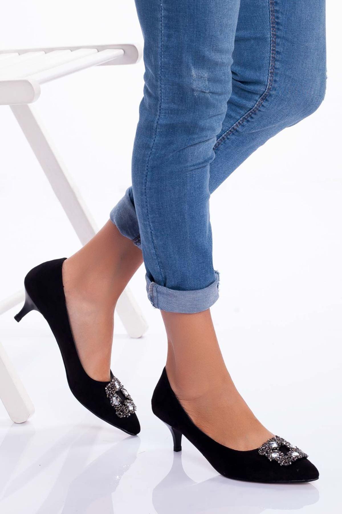 Christy Topuklu Ayakkabı SİYAH SÜET