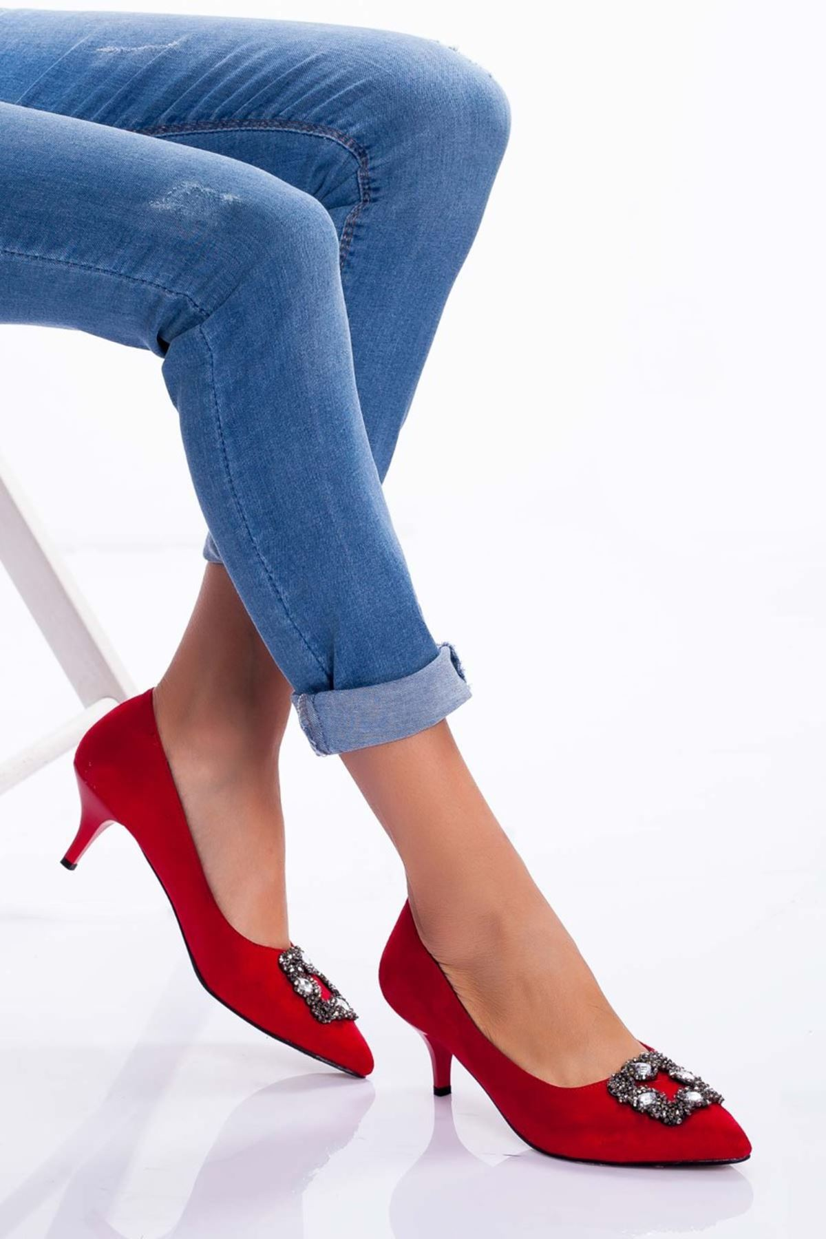 Christy Topuklu Ayakkabı KIRMIZI SÜET