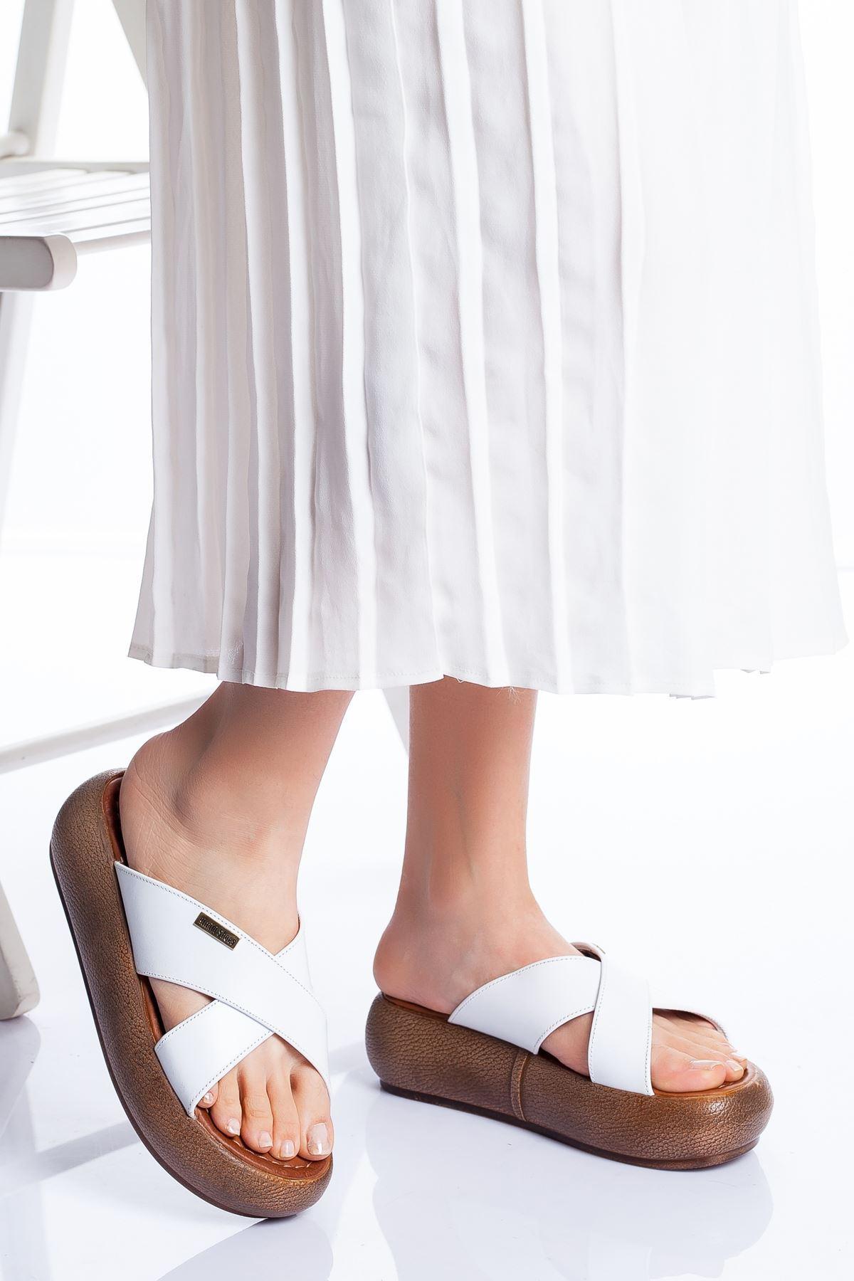 Carey Hakiki Deri Sandalet BEYAZ