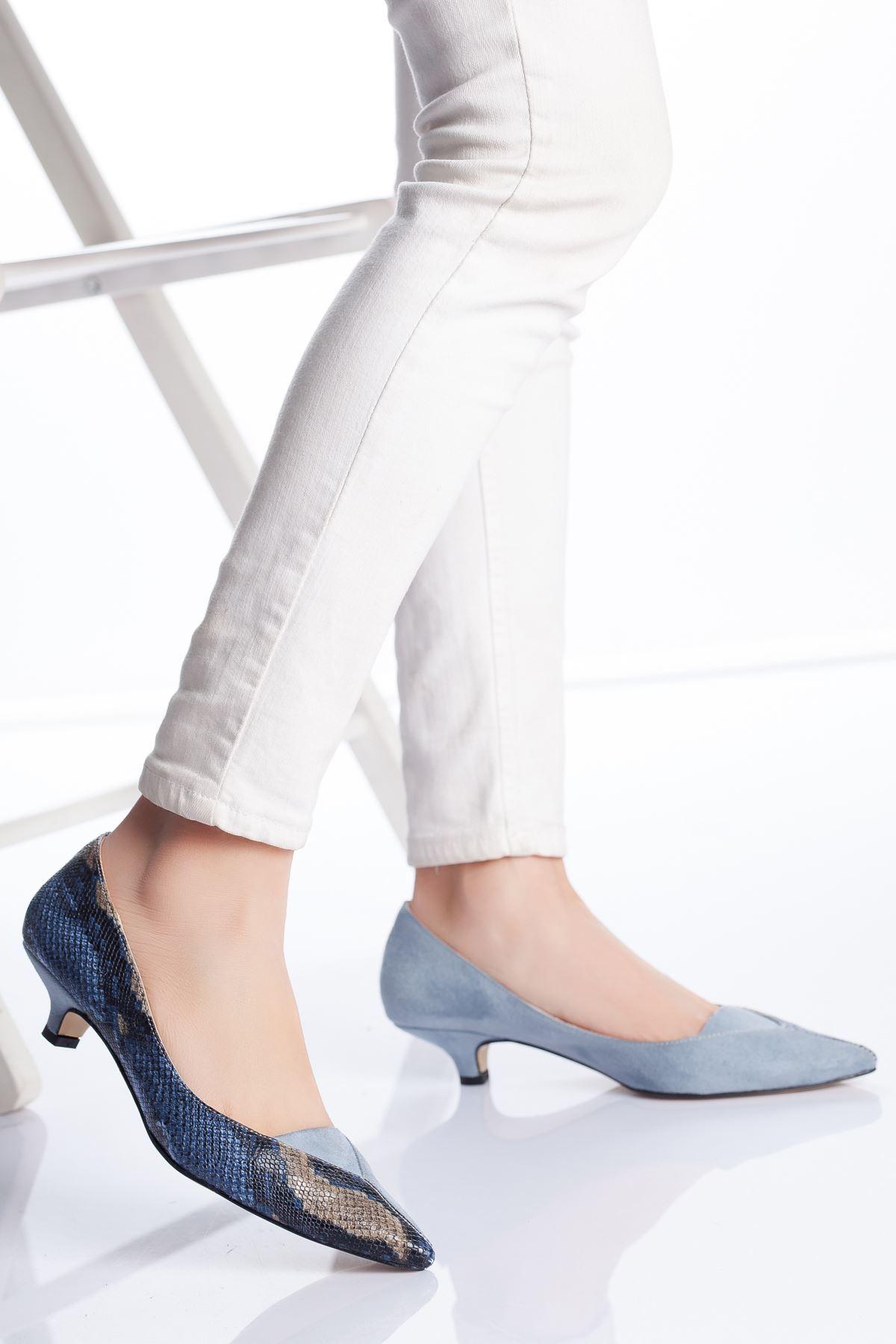 Odella Topuklu Ayakkabı MAVİ-YILAN