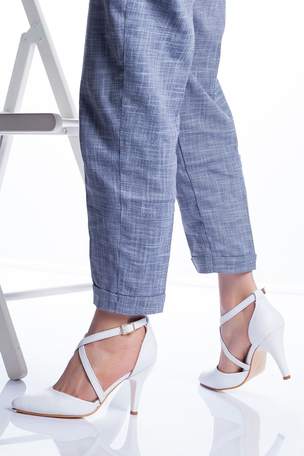 Gabel Topuklu Ayakkabı BEYAZ CİLT