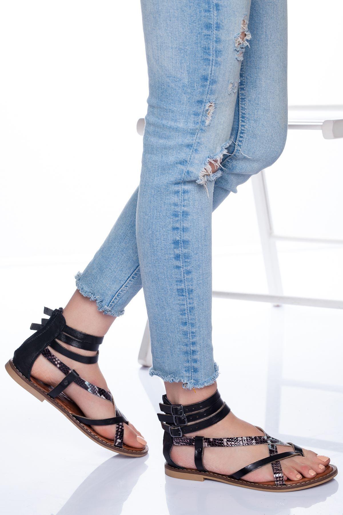 Serena Hakiki Deri Sandalet SIYAH