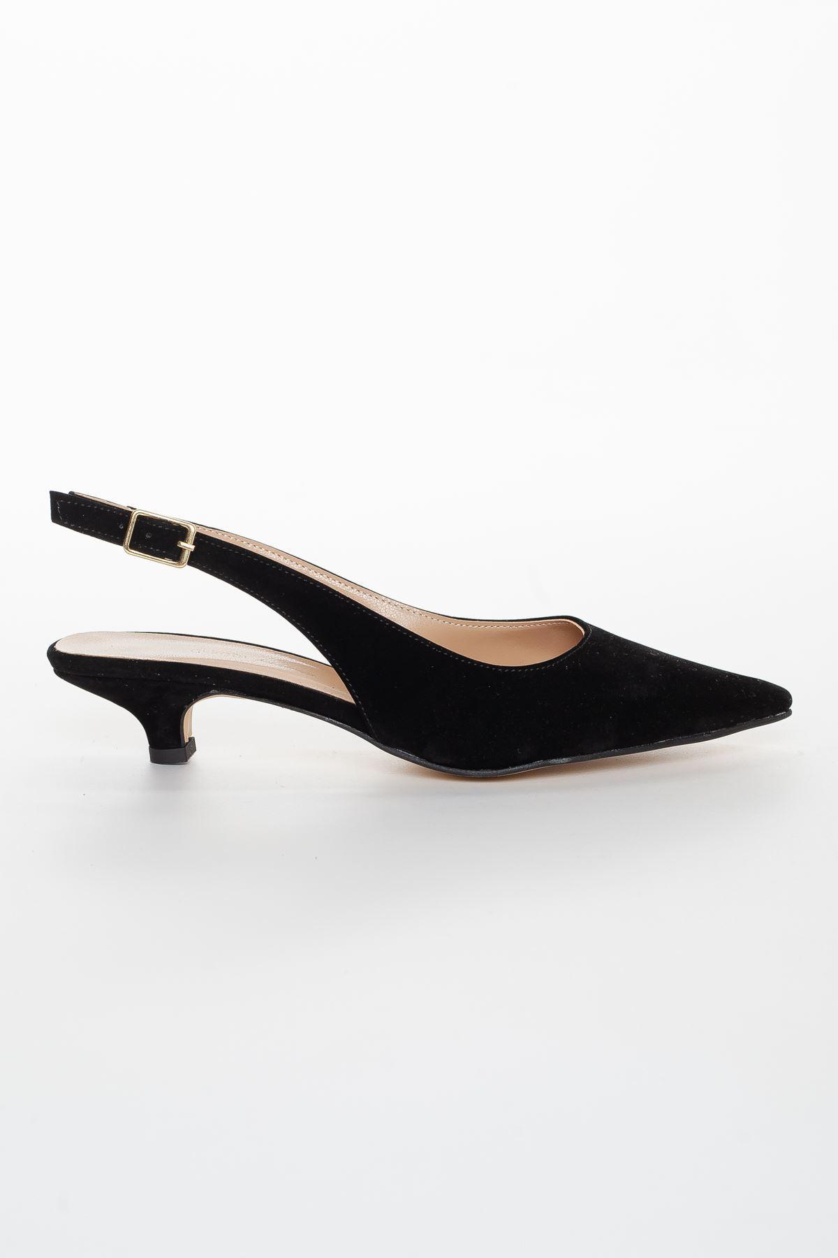 Mira Topuklu Ayakkabı SİYAH SÜET