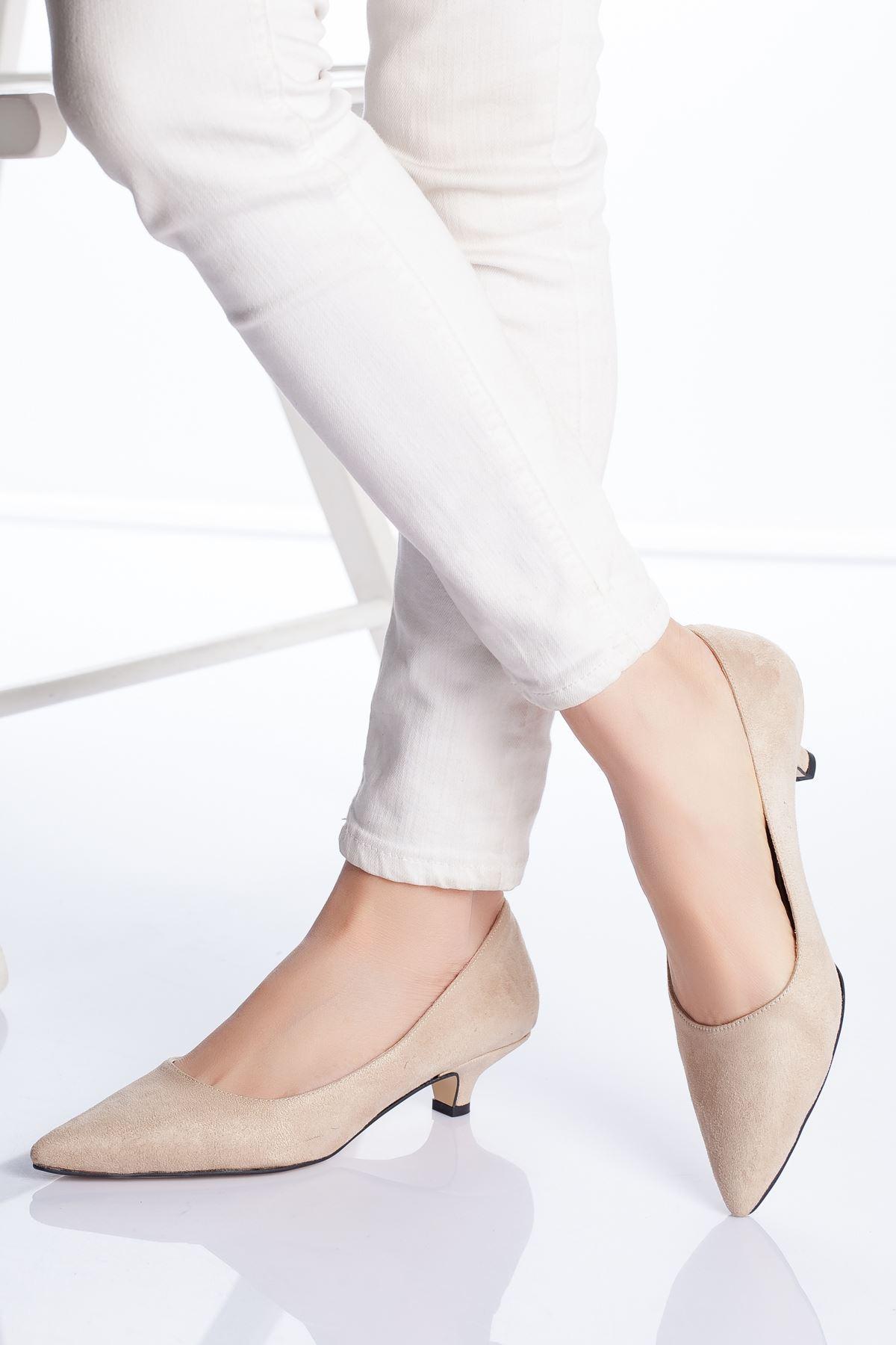 Limsi Ten Süet Kısa Topuklu Sivri Burun Ayakkabı