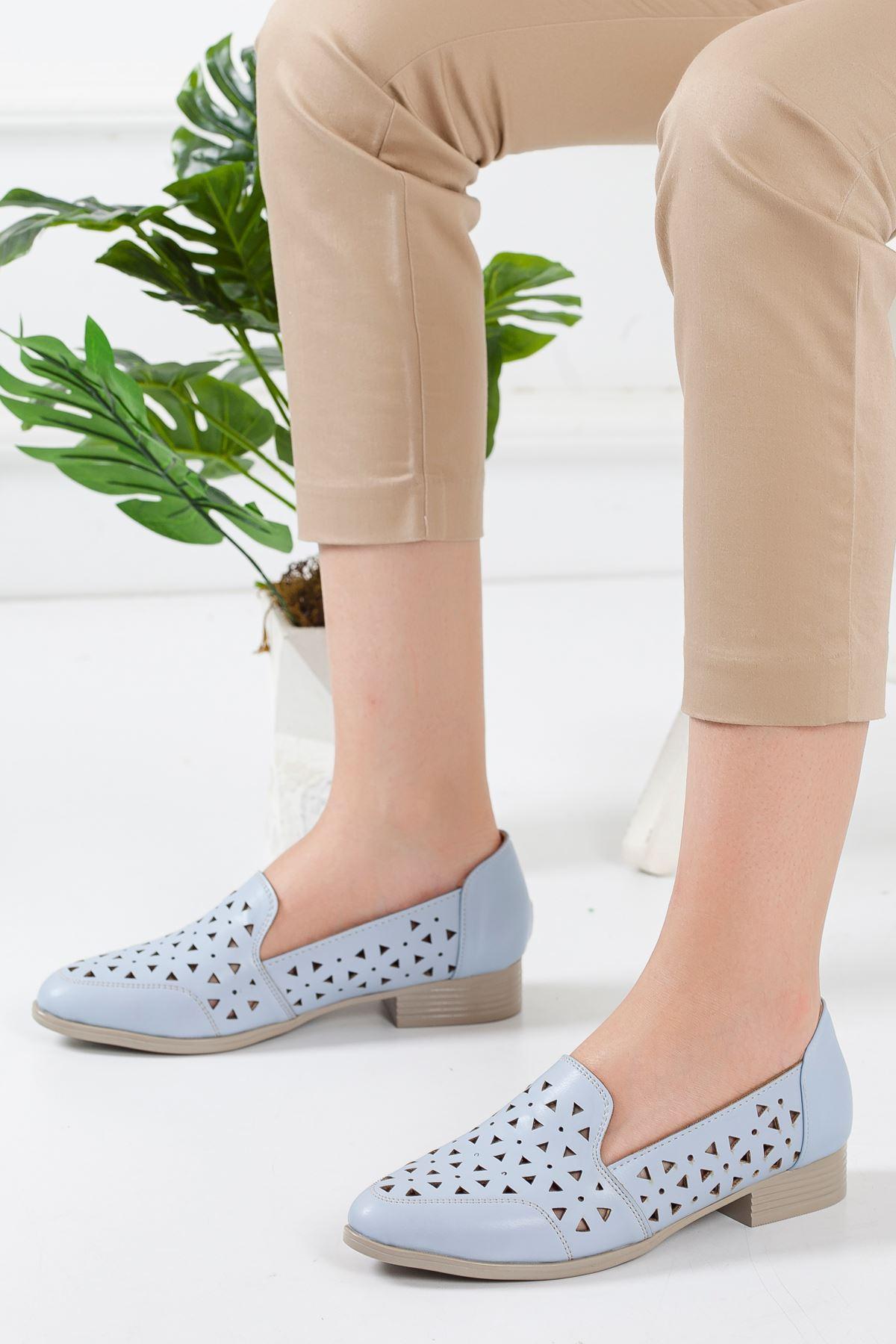Egem Delikli Yazlık Babet Ayakkabı MAVİ