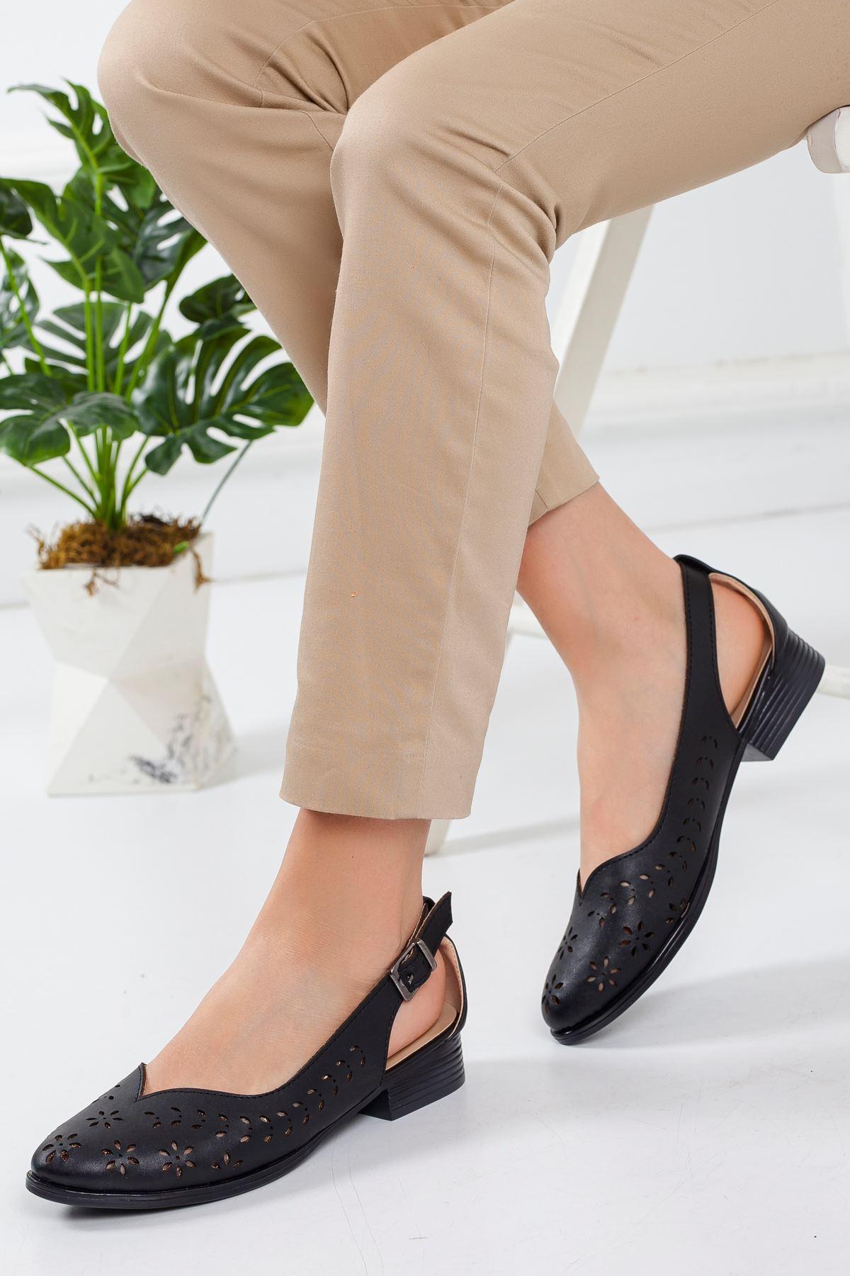Milor Yazlık Kısa Topuk Babet Ayakkabı Siyah