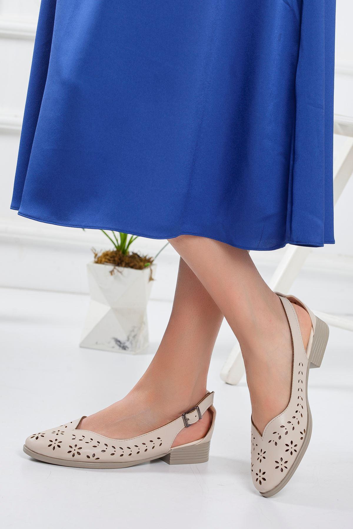 Milor Yazlık Kısa Topuk Babet Ayakkabı Ten