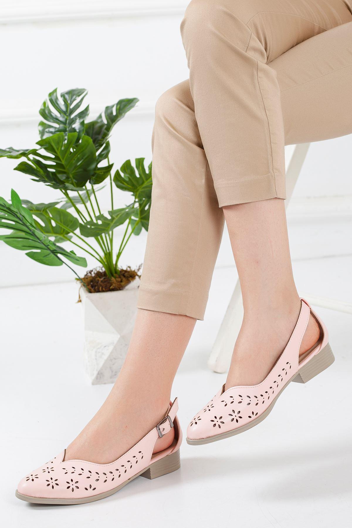Milor Yazlık Kısa Topuk Babet Ayakkabı Pudra
