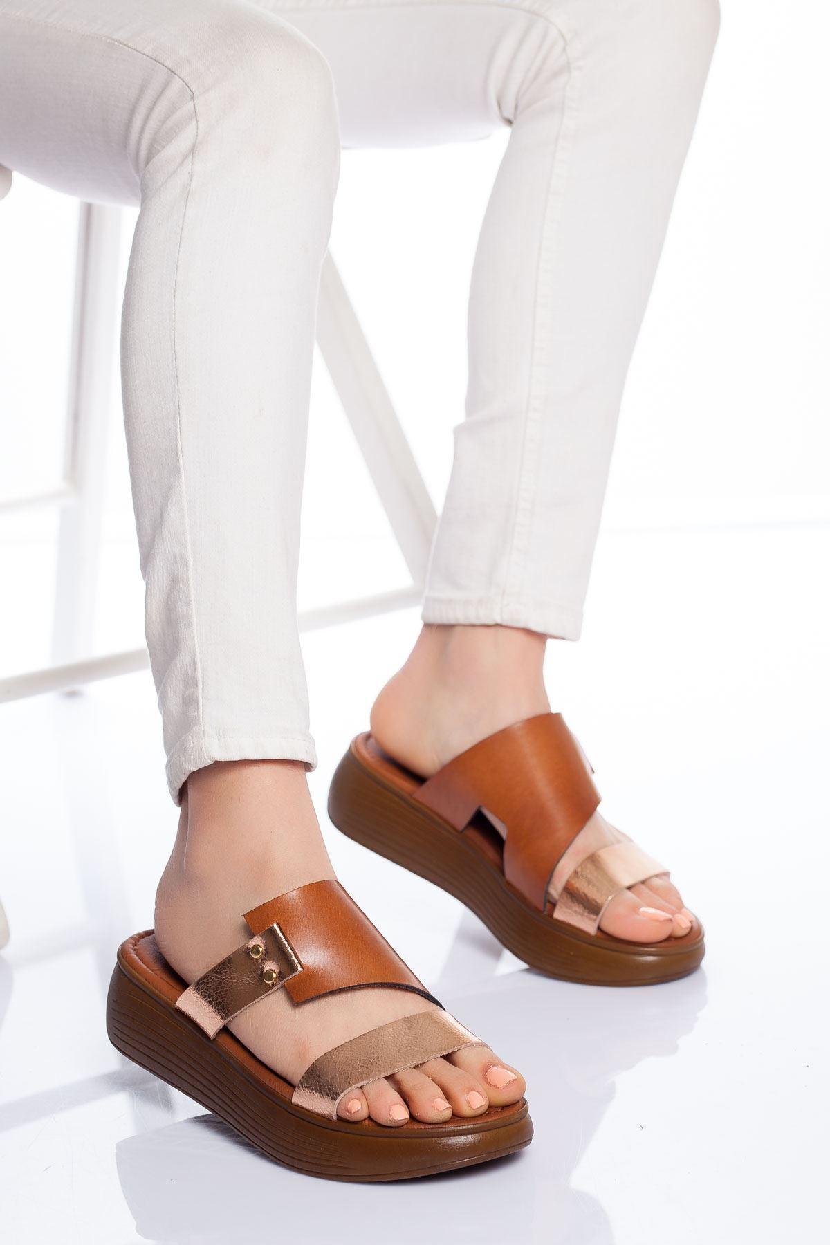 Neol Hakiki Deri Sandalet TABA