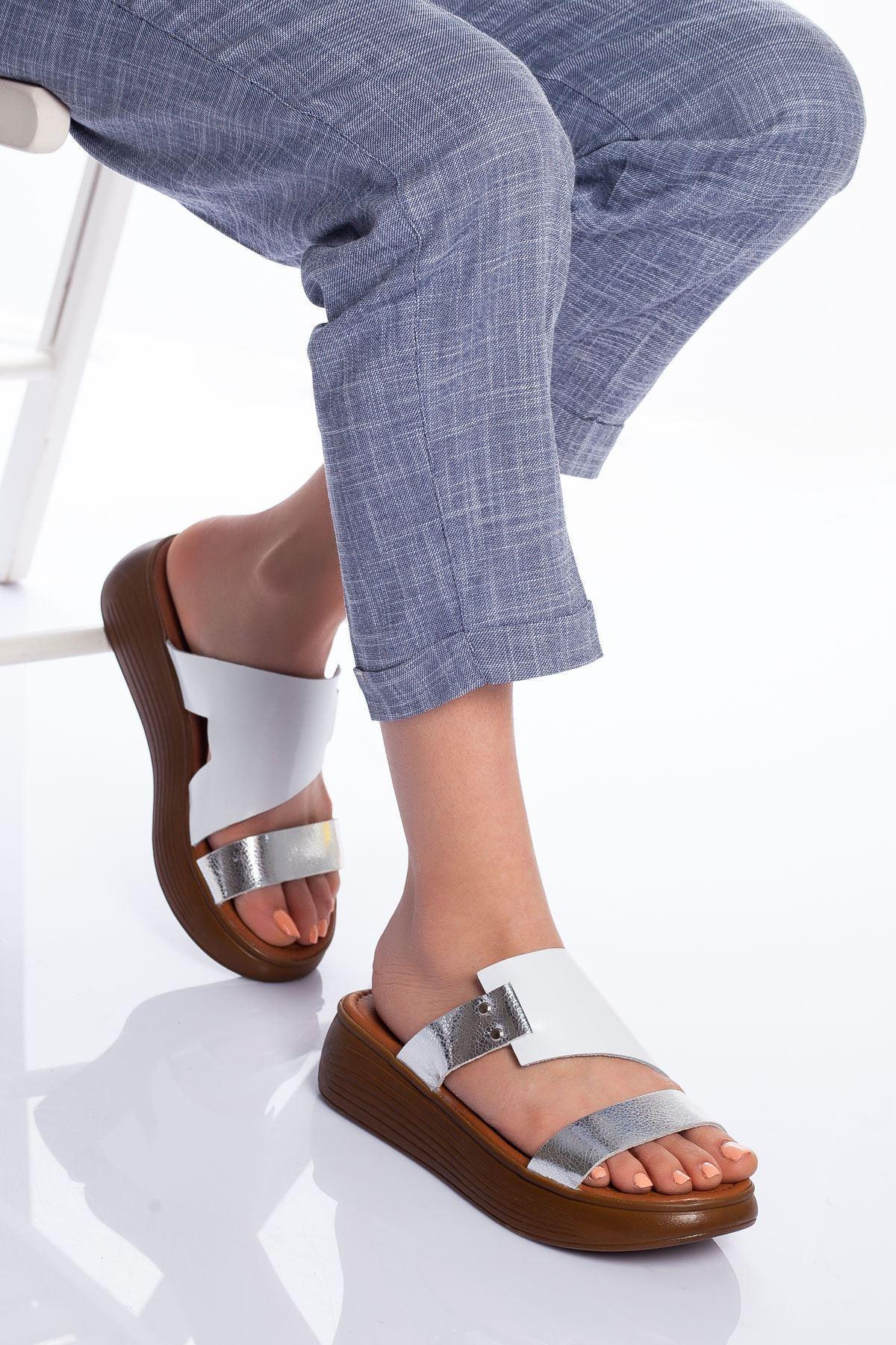 Neol Hakiki Deri Sandalet BEYAZ