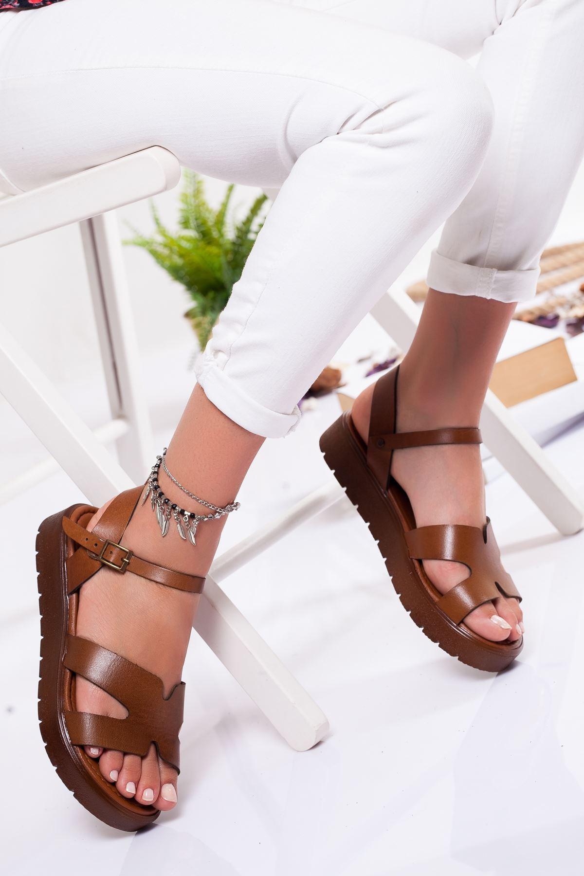 Deris Hakiki Deri Sandalet TABA