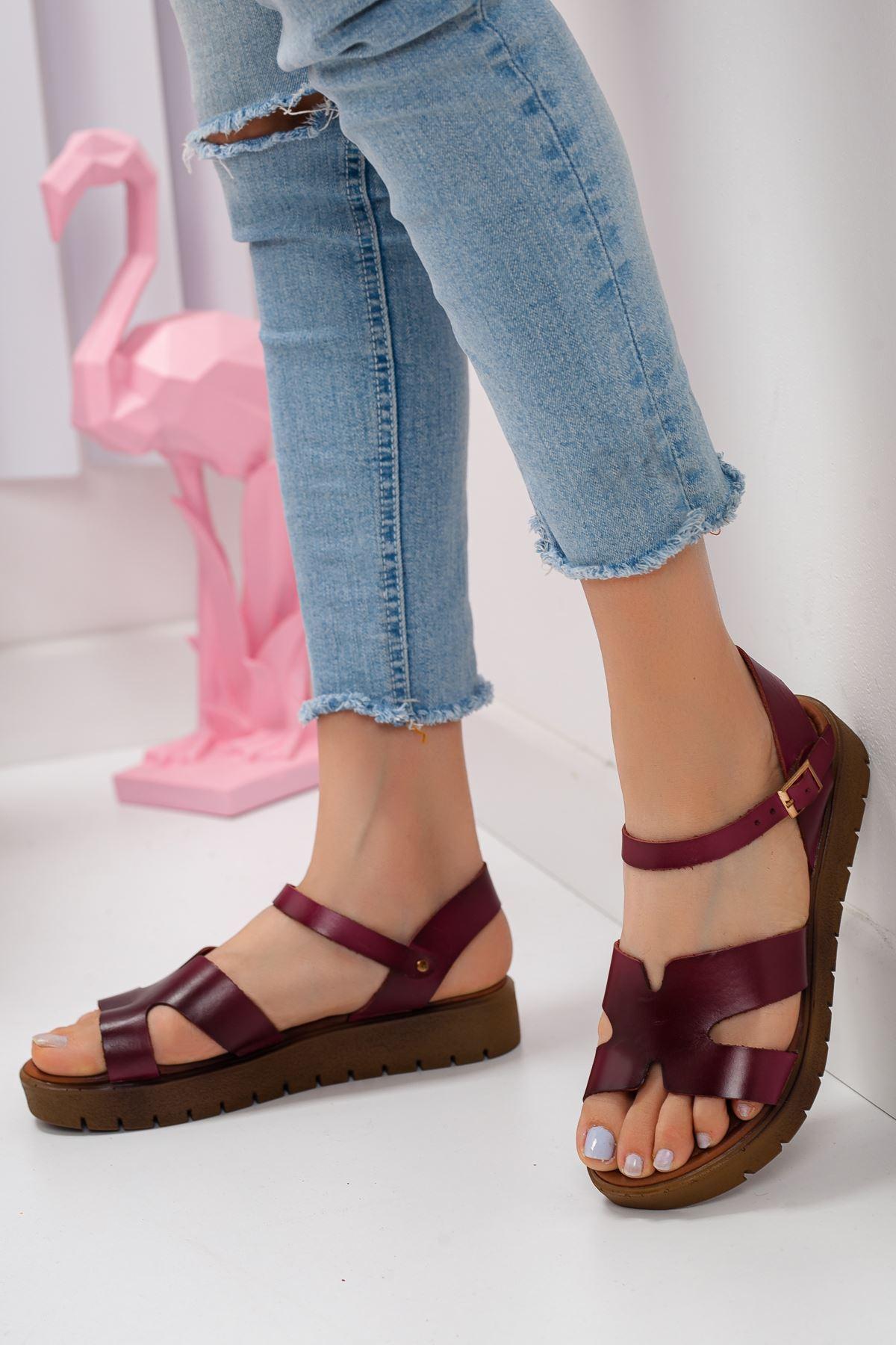 Deris Hakiki Deri Sandalet Bordo