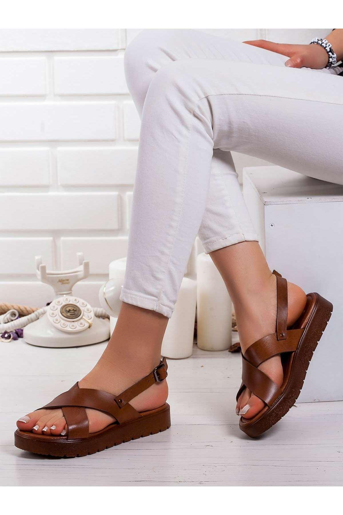Forci  Hakiki Deri Bayan Sandalet TABA