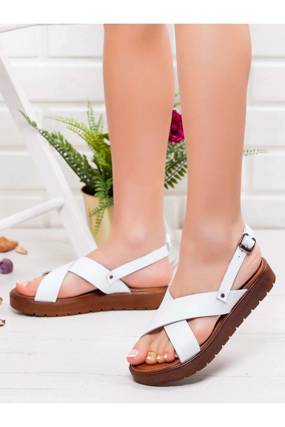 Forci  Hakiki Deri Bayan Sandalet Beyaz