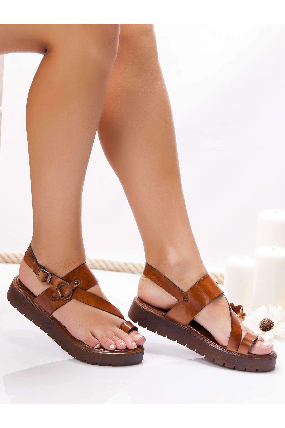Milas Hakiki Deri Bayan Sandalet Beyaz