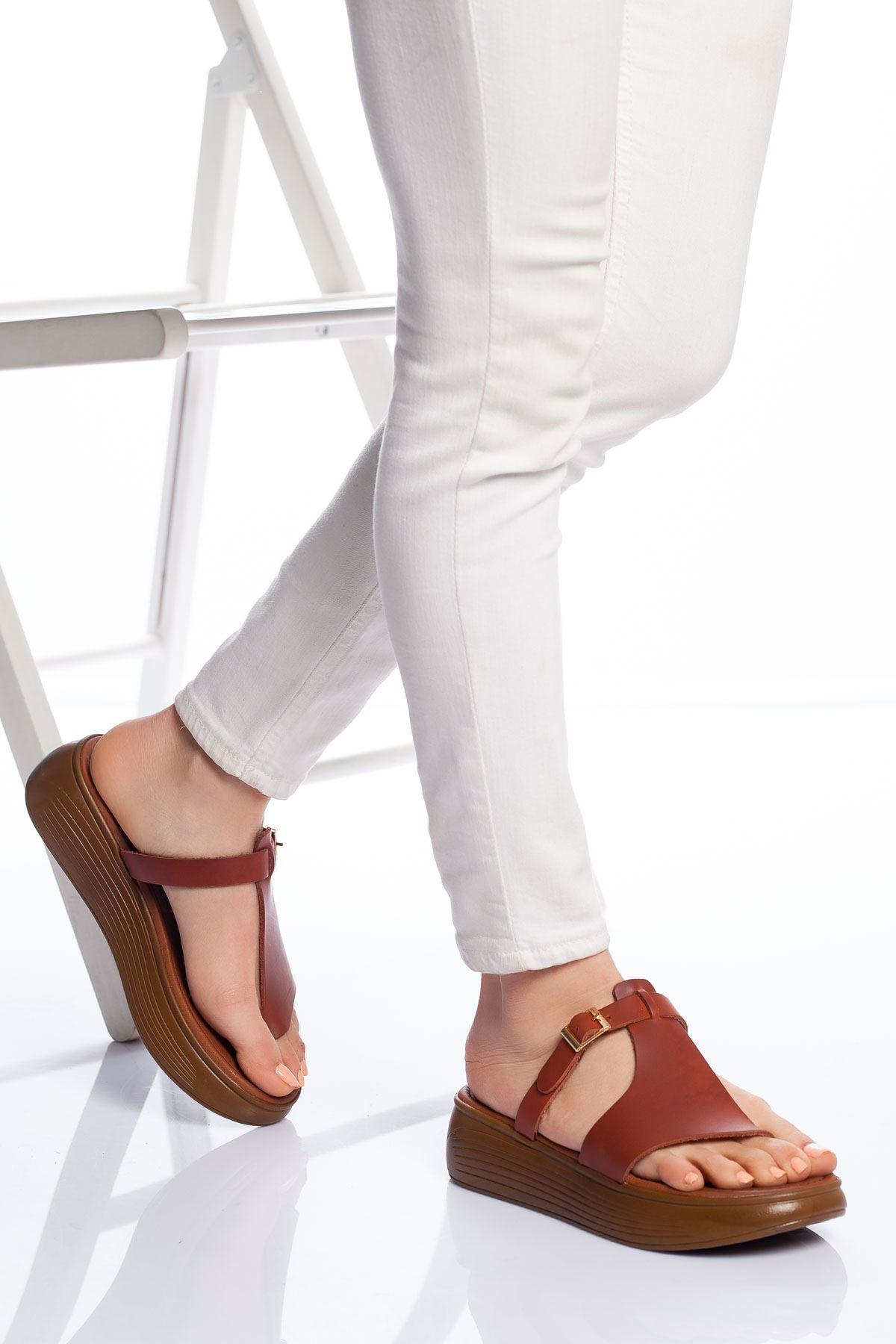 Talia Hakiki Deri Bayan Sandalet Taba