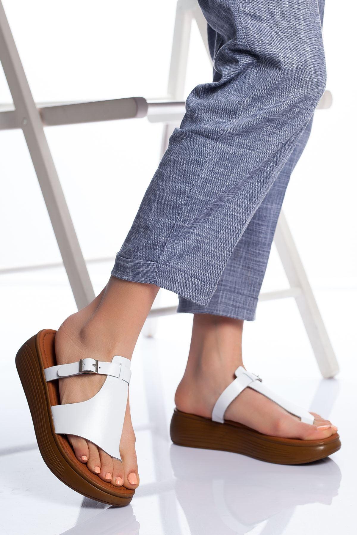 Talia Hakiki Deri Bayan Sandalet Beyaz