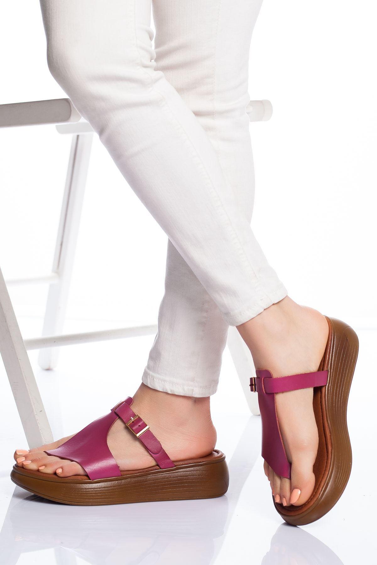 Talia Hakiki Deri Bayan Sandalet FUSYA