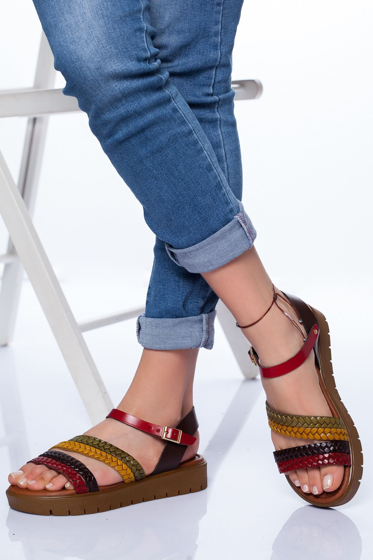 Başak Hakiki Deri Bayan Sandalet Mix