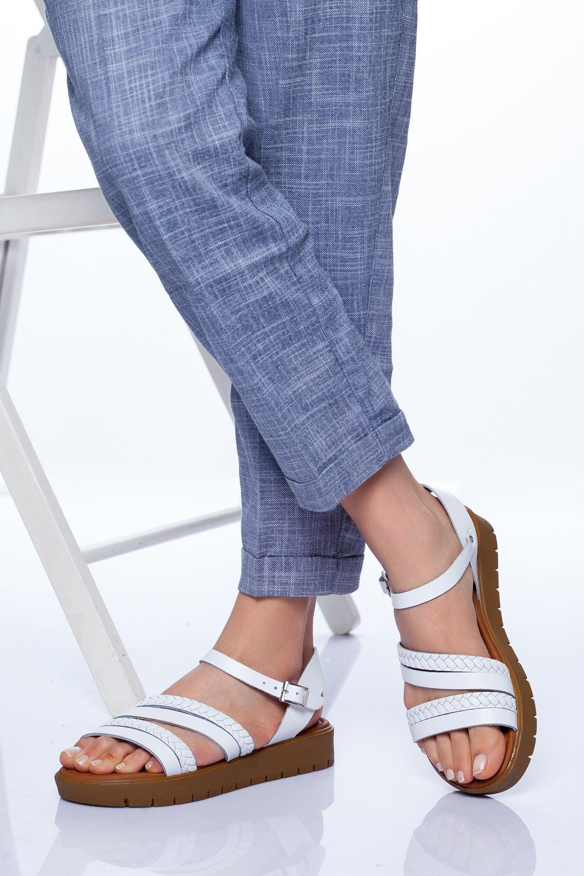 Başak Hakiki Deri Bayan Sandalet Beyaz