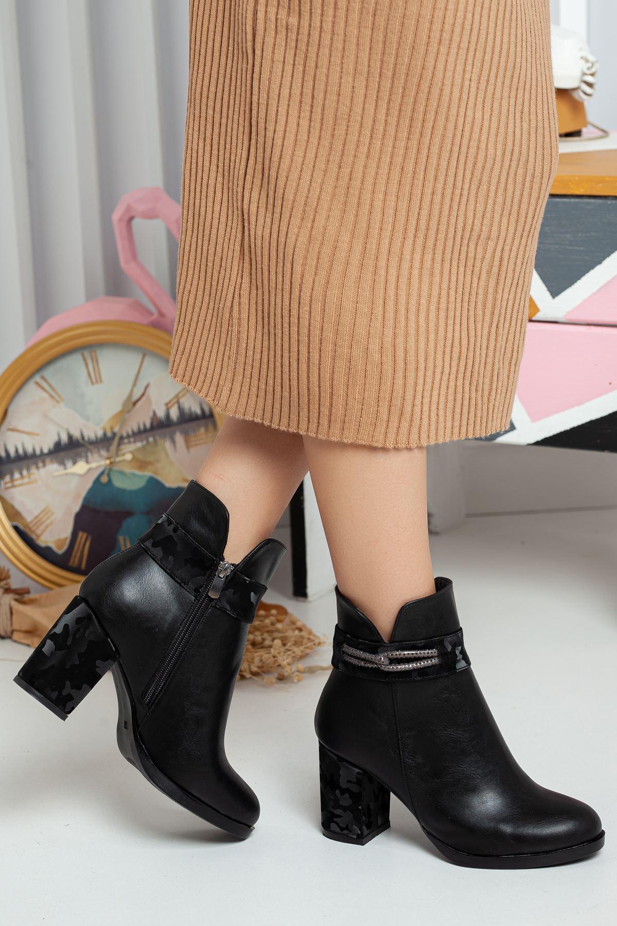 Warsel Kadın Topuklu Bot SİYAH CİLT