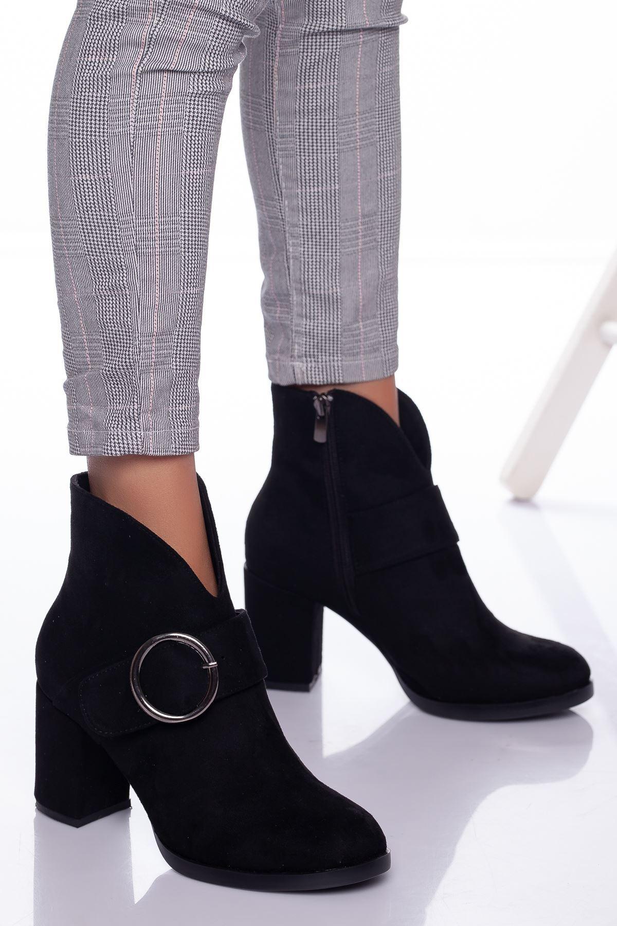 Lunsi Siyah Topuklu Yarım  Bayan Bot