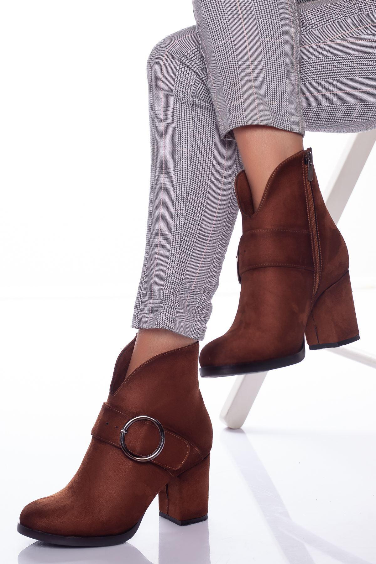 Lunsi Taba Topuklu Yarım  Bayan Bot